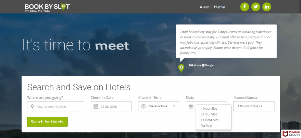 hourly booking hotels- Bookbyslot