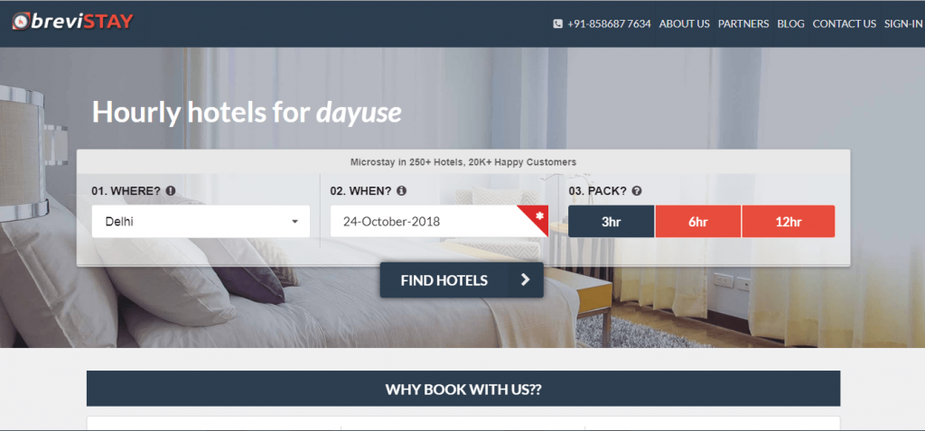 hourly booking hotels- Brevistay