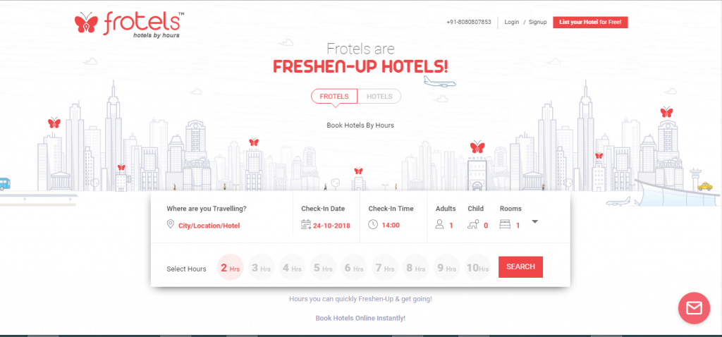 hourly booking hotels- Frotels