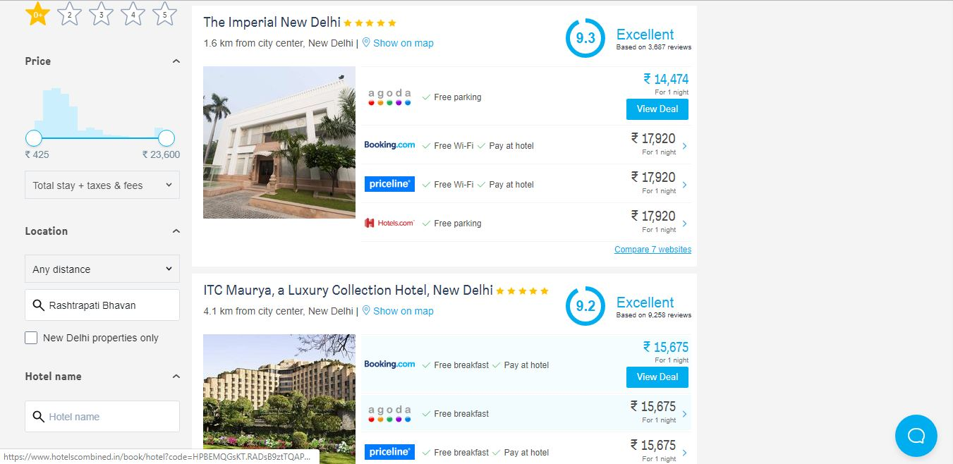 Hotels Combined Price Comparison