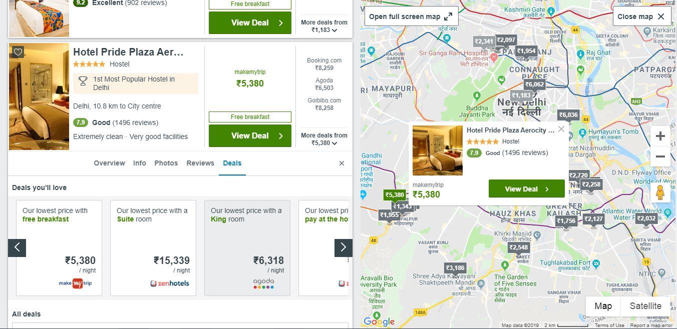 Trivago hotel comparision site