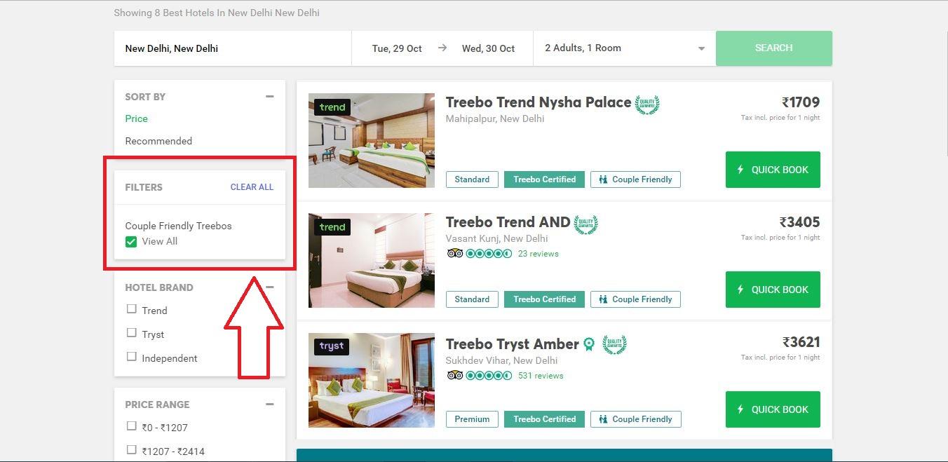 Treebo Couple Friendly Hotels