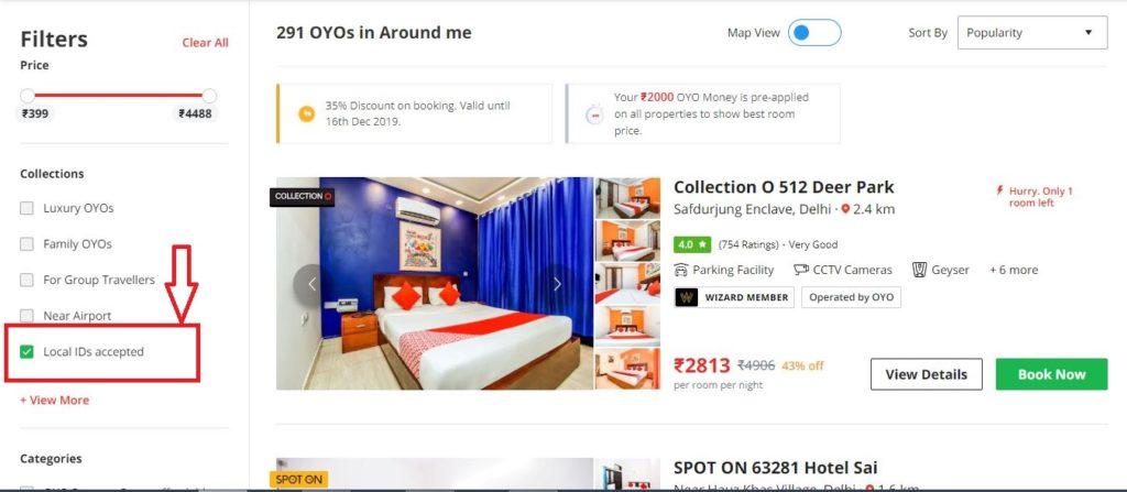 OYO that accepts local IDs